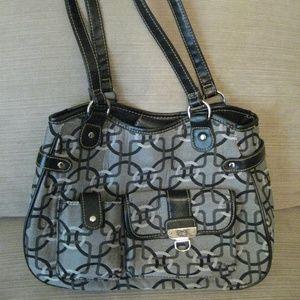 Black White Print Padded Fabric Handbag Should Bag